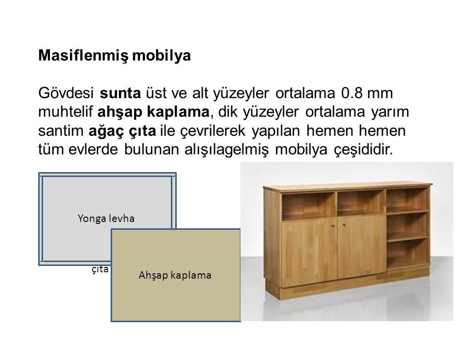 Masiflenmiş mobilya Gövdesi sunta üst ve alt yüzeyler ortalama 0.8 mm muhtelif ahşap kaplama, dik yüzeyler ortalama yarım santim ağaç çıta ile çevrile