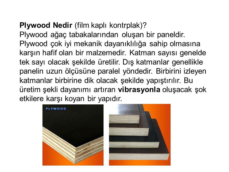 Plywood Nedir (film kaplı kontrplak)? Plywood ağaç tabakalarından oluşan bir paneldir. Plywood çok iyi mekanik dayanıklılığa sahip olmasına karşın haf