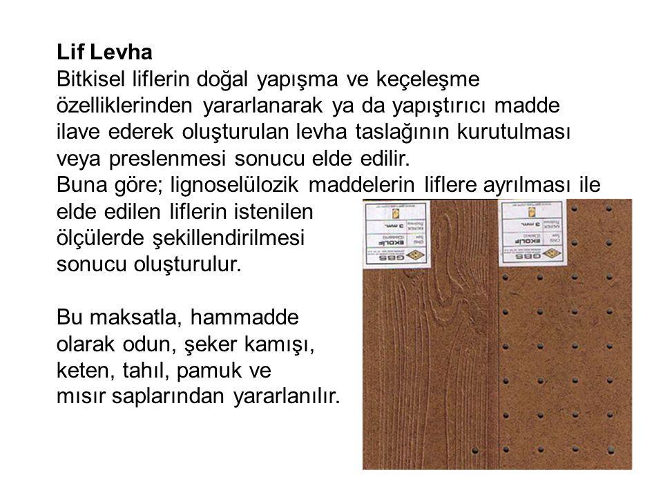 Lif Levha Bitkisel liflerin doğal yapışma ve keçeleşme özelliklerinden yararlanarak ya da yapıştırıcı madde ilave ederek oluşturulan levha taslağının