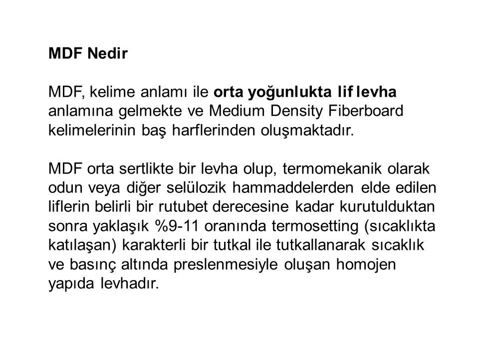 MDF Nedir MDF, kelime anlamı ile orta yoğunlukta lif levha anlamına gelmekte ve Medium Density Fiberboard kelimelerinin baş harflerinden oluşmaktadır.