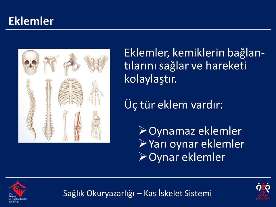 Eklemler Sağlık Okuryazarlığı – Kas İskelet Sistemi Eklemler, kemiklerin bağlan- tılarını sağlar ve hareketi kolaylaştır. Üç tür eklem vardır:  Oynam