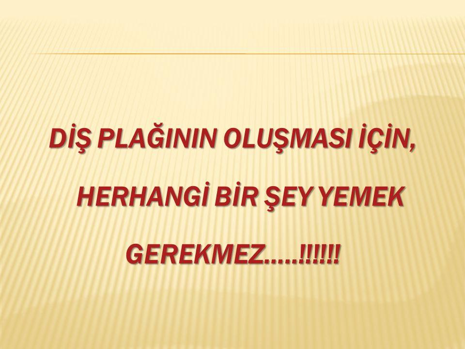 DİŞ PLAĞININ OLUŞMASI İÇİN, HERHANGİ BİR ŞEY YEMEK HERHANGİ BİR ŞEY YEMEKGEREKMEZ…..!!!!!!