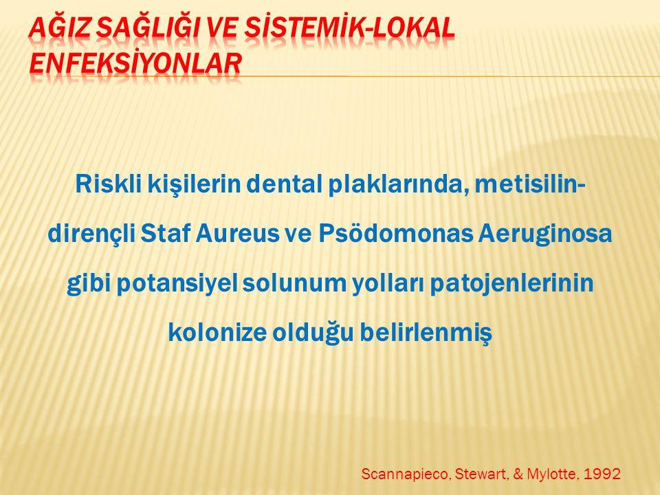 Riskli kişilerin dental plaklarında, metisilin- dirençli Staf Aureus ve Psödomonas Aeruginosa gibi potansiyel solunum yolları patojenlerinin kolonize olduğu belirlenmiş Scannapieco, Stewart, & Mylotte, 1992