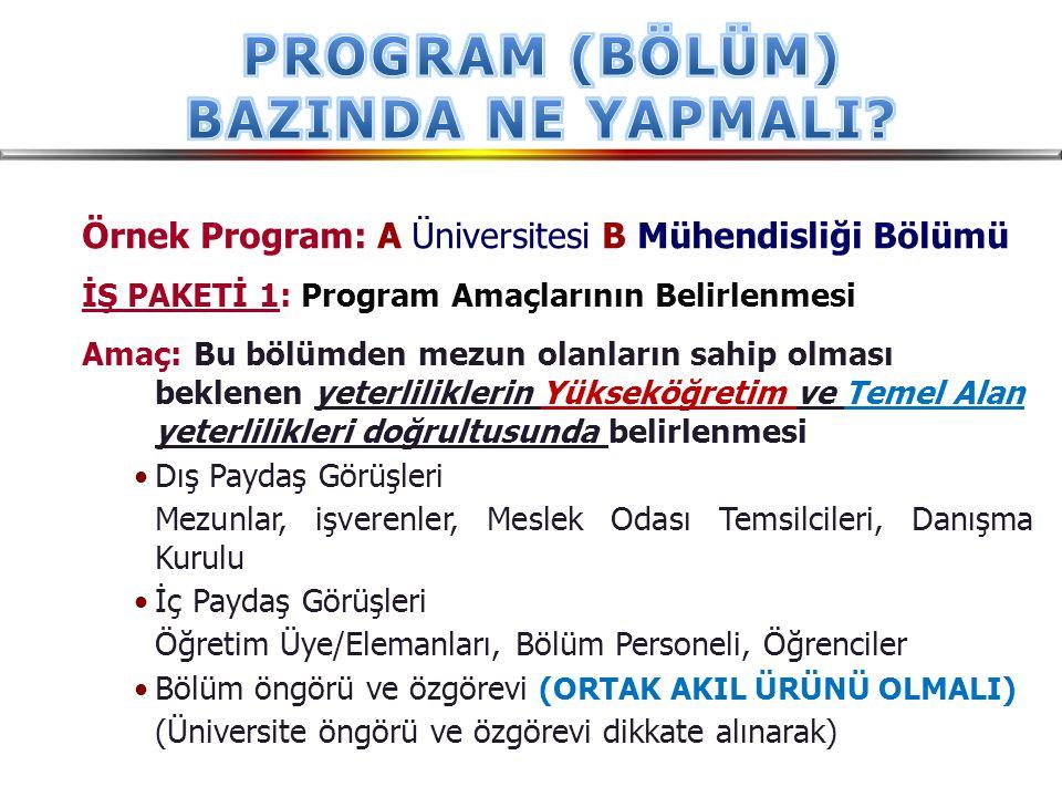 Örnek Program: A Üniversitesi B Mühendisliği Bölümü İŞ PAKETİ 1: Program Amaçlarının Belirlenmesi Amaç: Bu bölümden mezun olanların sahip olması bekle
