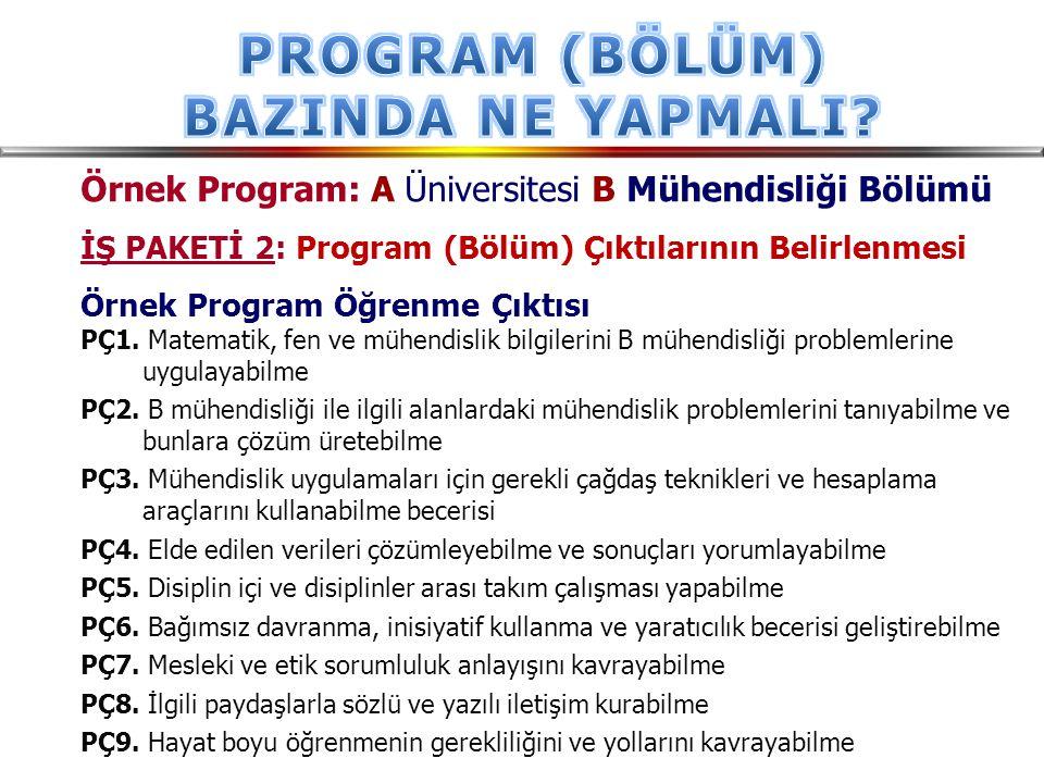 Örnek Program: A Üniversitesi B Mühendisliği Bölümü İŞ PAKETİ 2: Program (Bölüm) Çıktılarının Belirlenmesi Örnek Program Öğrenme Çıktısı PÇ1. Matemati