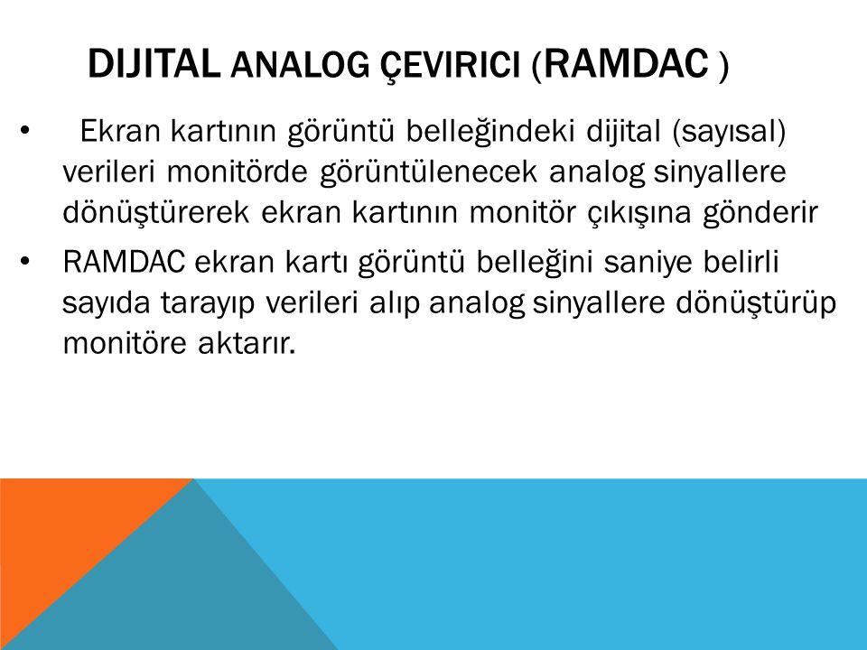 DIJITAL ANALOG ÇEVIRICI ( RAMDAC ) Ekran kartının görüntü belleğindeki dijital (sayısal) verileri monitörde görüntülenecek analog sinyallere dönüştüre