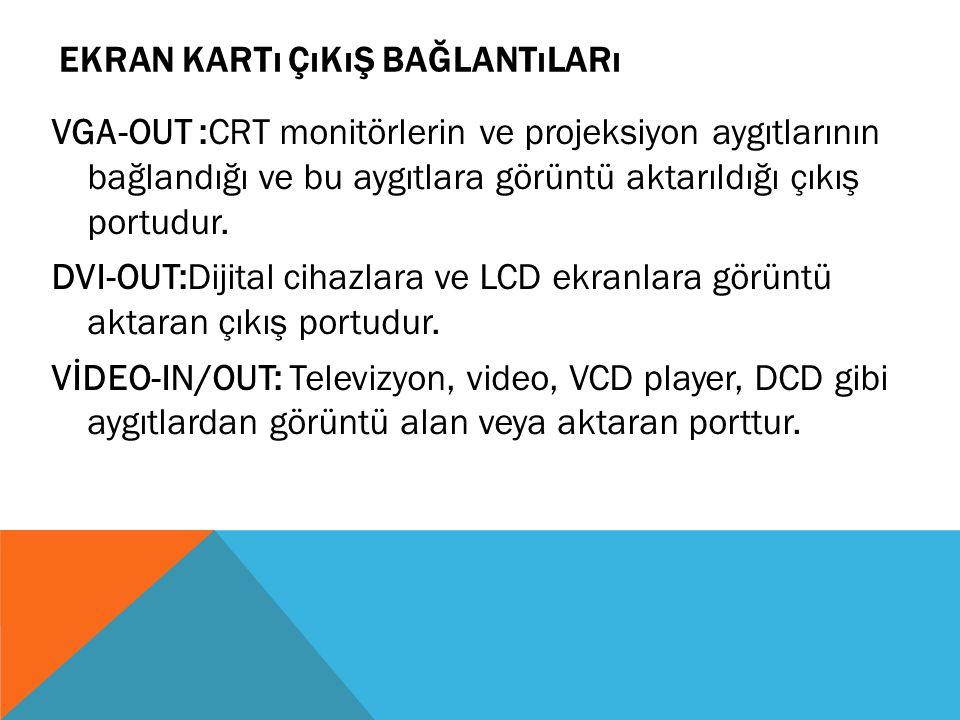 EKRAN KARTı ÇıKıŞ BAĞLANTıLARı VGA-OUT :CRT monitörlerin ve projeksiyon aygıtlarının bağlandığı ve bu aygıtlara görüntü aktarıldığı çıkış portudur. DV