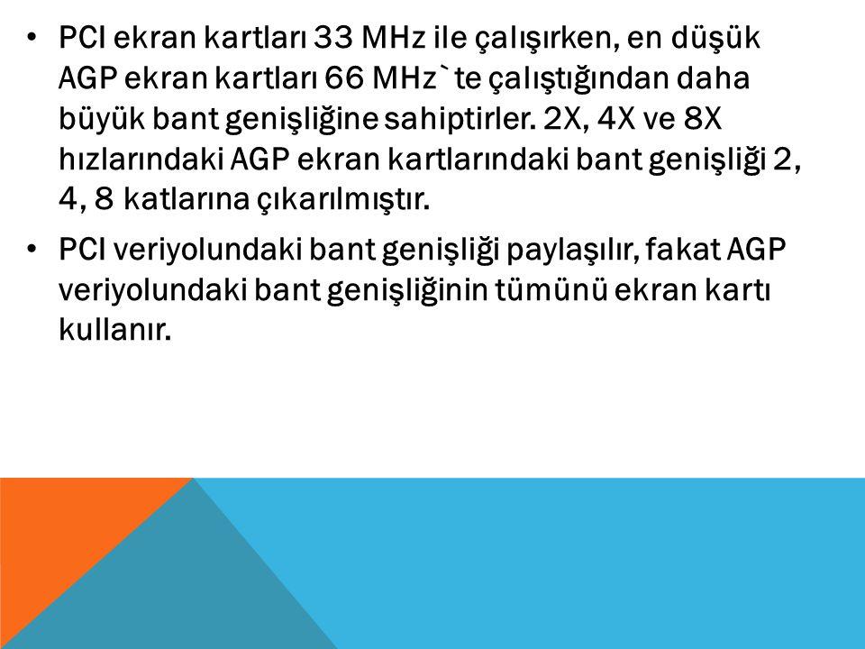 PCI ekran kartları 33 MHz ile çalışırken, en düşük AGP ekran kartları 66 MHz`te çalıştığından daha büyük bant genişliğine sahiptirler. 2X, 4X ve 8X hı