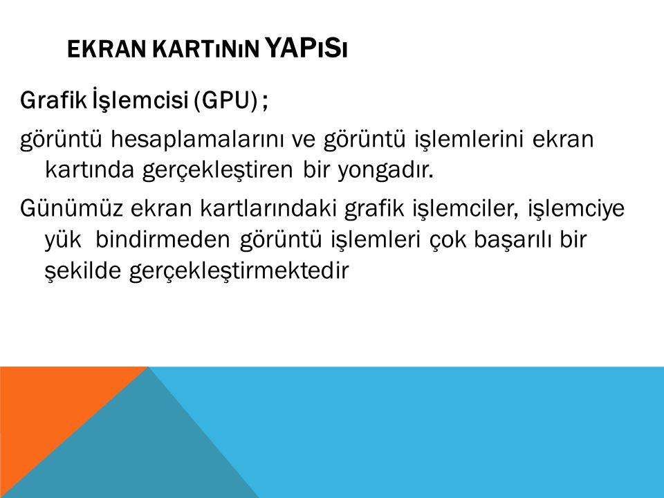 EKRAN KARTıNıN YAPıSı Grafik İşlemcisi (GPU) ; görüntü hesaplamalarını ve görüntü işlemlerini ekran kartında gerçekleştiren bir yongadır. Günümüz ekra