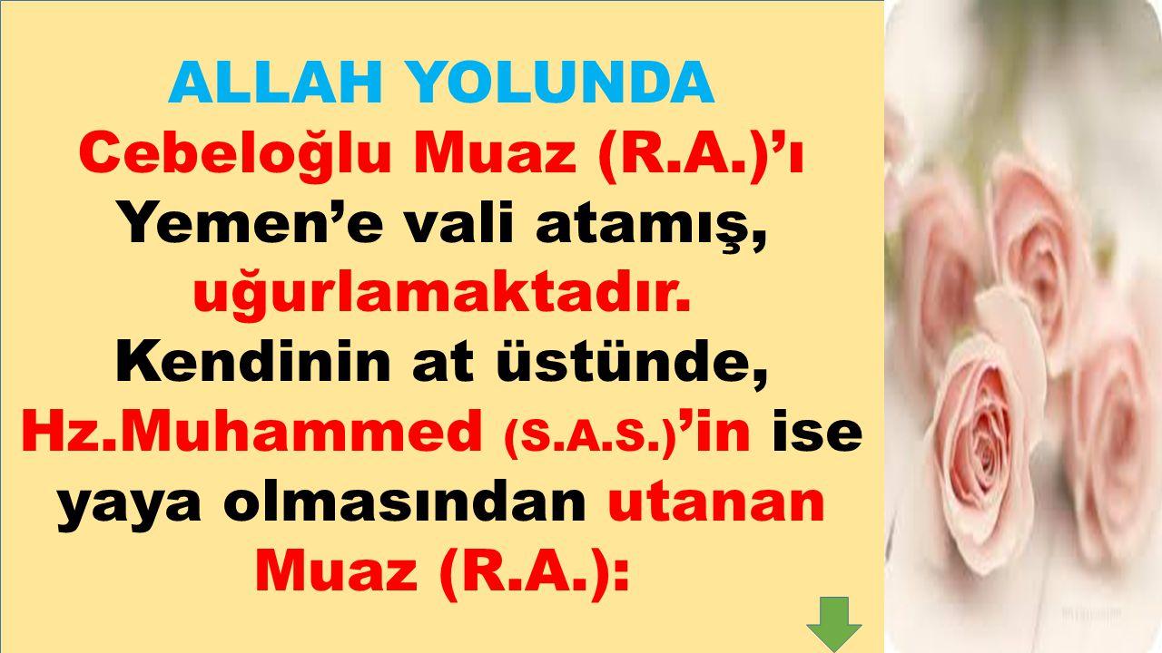ALLAH YOLUNDA Cebeloğlu Muaz (R.A.)'ı Yemen'e vali atamış, uğurlamaktadır. Kendinin at üstünde, Hz.Muhammed (S.A.S.) 'in ise yaya olmasından utanan Mu