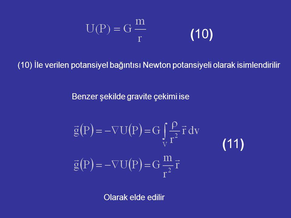 Benzer şekilde gravite çekimi ise (11) Olarak elde edilir (10) İle verilen potansiyel bağıntısı Newton potansiyeli olarak isimlendirilir (10)