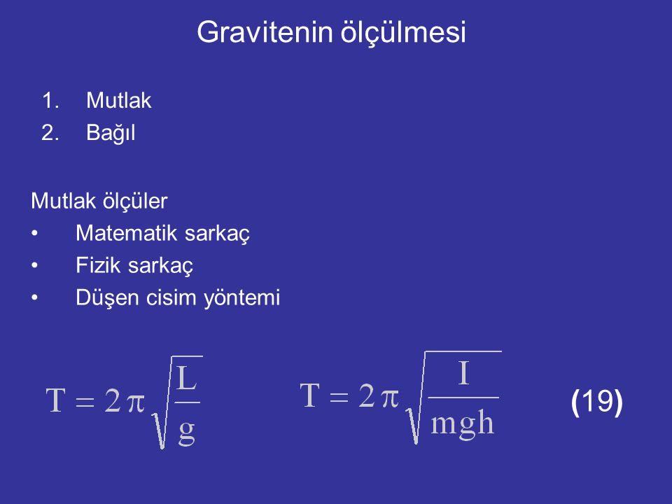 Gravitenin ölçülmesi 1.Mutlak 2.Bağıl Mutlak ölçüler Matematik sarkaç Fizik sarkaç Düşen cisim yöntemi (19)