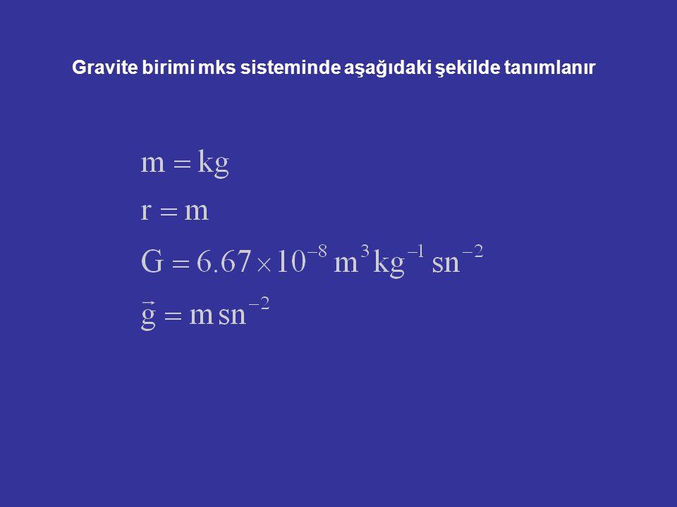 Gravite birimi mks sisteminde aşağıdaki şekilde tanımlanır