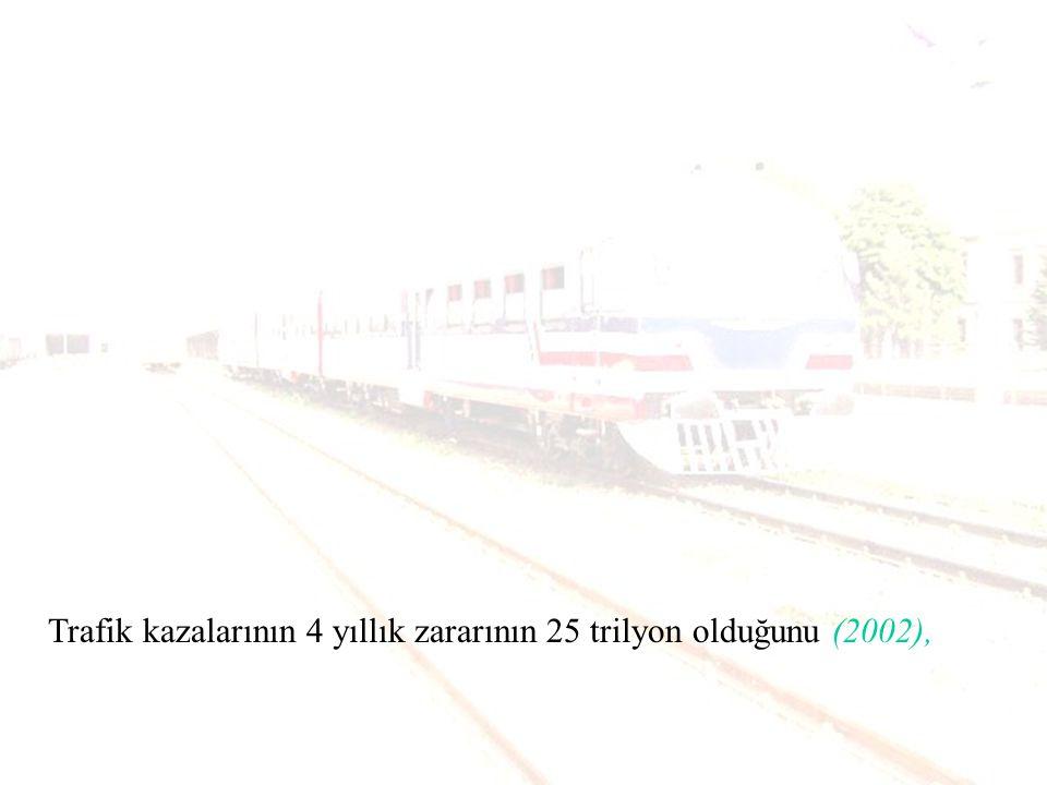 Taşımacılığını %95 oranında karayolu taşımacılığı ile yapan Türkiye nin kaza sayısında 195 ülke arasında 12.