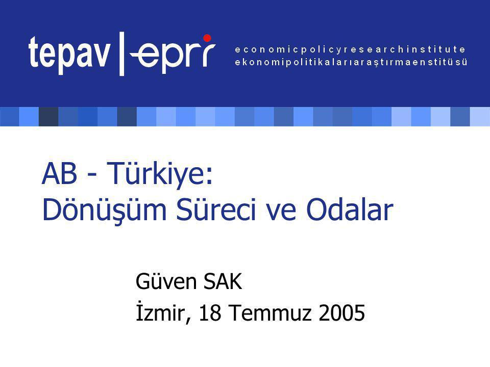 AB - Türkiye: Dönüşüm Süreci ve Odalar 12 İşgücünün ve katma değerin sektörel dağılımı: AB vs.