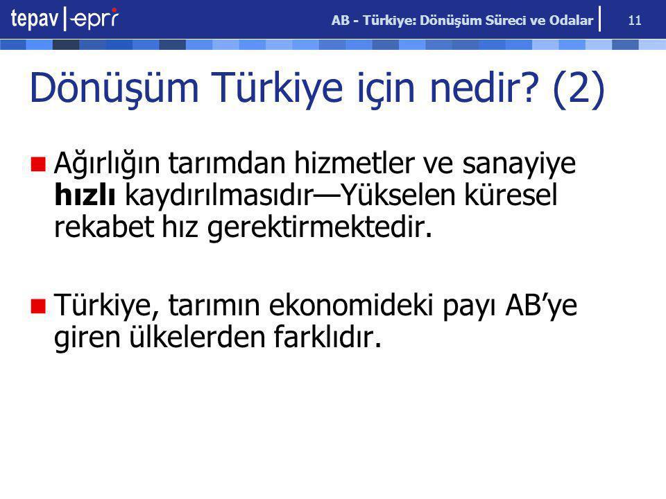 AB - Türkiye: Dönüşüm Süreci ve Odalar 11 Dönüşüm Türkiye için nedir? (2) Ağırlığın tarımdan hizmetler ve sanayiye hızlı kaydırılmasıdır—Yükselen küre