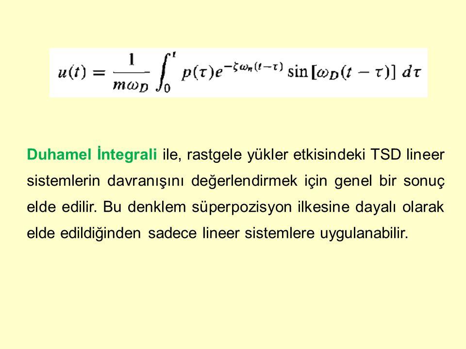 Duhamel İntegrali ile, rastgele yükler etkisindeki TSD lineer sistemlerin davranışını değerlendirmek için genel bir sonuç elde edilir. Bu denklem süpe