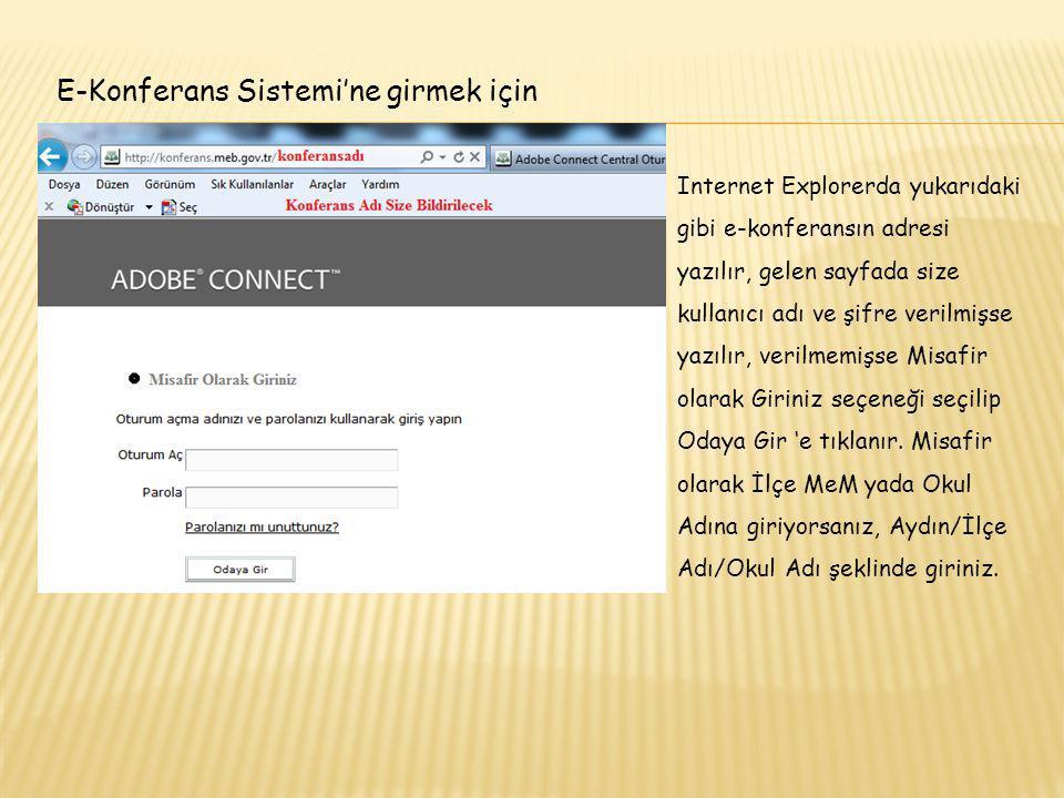 E-Konferans Sistemi'ne girmek için Internet Explorerda yukarıdaki gibi e-konferansın adresi yazılır, gelen sayfada size kullanıcı adı ve şifre verilmi