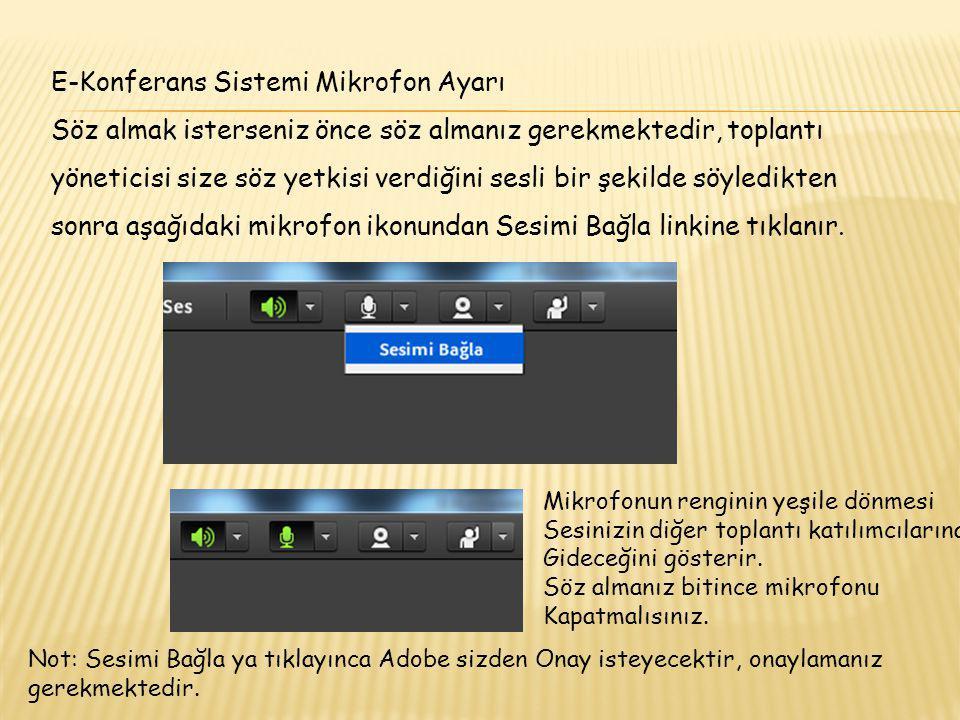 E-Konferans Sistemi Web Cam Ayarı Web Cam i açmak için Web Cam açılınca kamera linki yeşile döner