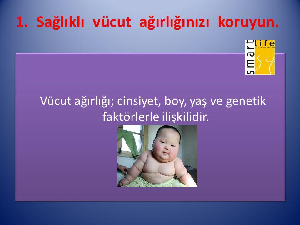1. Sağlıklı vücut ağırlığınızı koruyun. Vücut ağırlığı; cinsiyet, boy, yaş ve genetik faktörlerle ilişkilidir. Vücut ağırlığı; cinsiyet, boy, yaş ve g