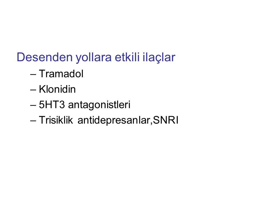 Desenden yollara etkili ilaçlar –Tramadol –Klonidin –5HT3 antagonistleri –Trisiklik antidepresanlar,SNRI