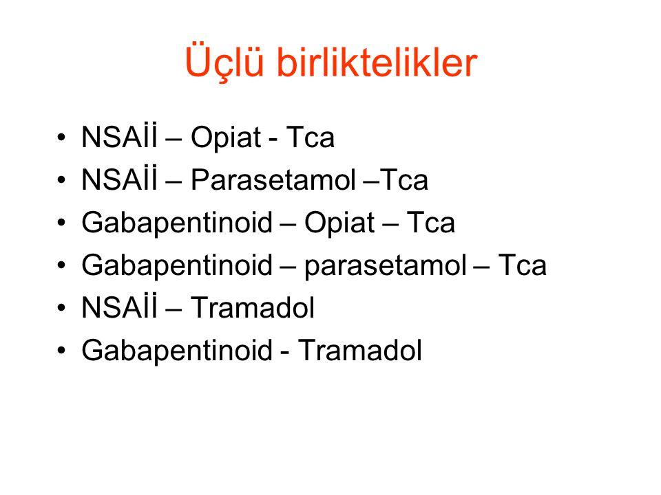 Üçlü birliktelikler NSAİİ – Opiat - Tca NSAİİ – Parasetamol –Tca Gabapentinoid – Opiat – Tca Gabapentinoid – parasetamol – Tca NSAİİ – Tramadol Gabape