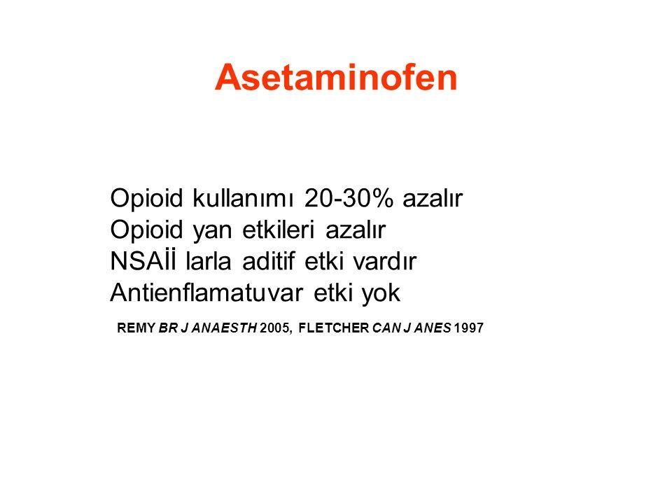 Asetaminofen Opioid kullanımı 20-30% azalır Opioid yan etkileri azalır NSAİİ larla aditif etki vardır Antienflamatuvar etki yok REMY BR J ANAESTH 2005