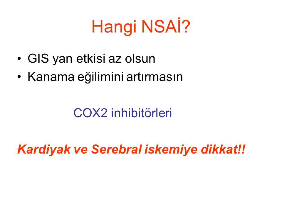 Hangi NSAİ? GIS yan etkisi az olsun Kanama eğilimini artırmasın COX2 inhibitörleri Kardiyak ve Serebral iskemiye dikkat!!