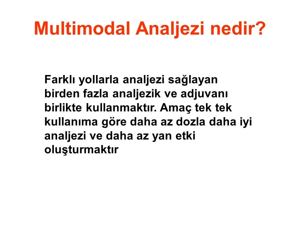 Multimodal Analjezi nedir? Farklı yollarla analjezi sağlayan birden fazla analjezik ve adjuvanı birlikte kullanmaktır. Amaç tek tek kullanıma göre dah