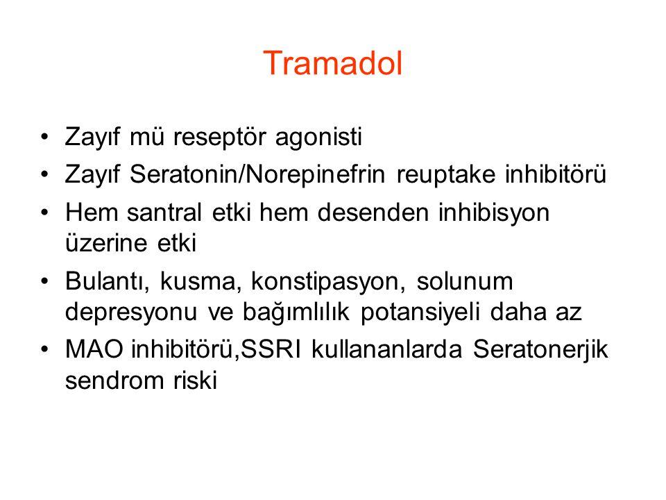 Tramadol Zayıf mü reseptör agonisti Zayıf Seratonin/Norepinefrin reuptake inhibitörü Hem santral etki hem desenden inhibisyon üzerine etki Bulantı, ku