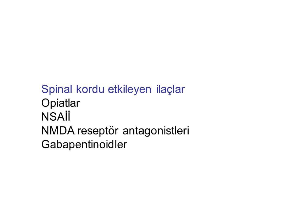 Santral etkili ilaçlar Opiatlar Beyin sapı, talamus ve kortekste opiat reseptörleri Parasetamol