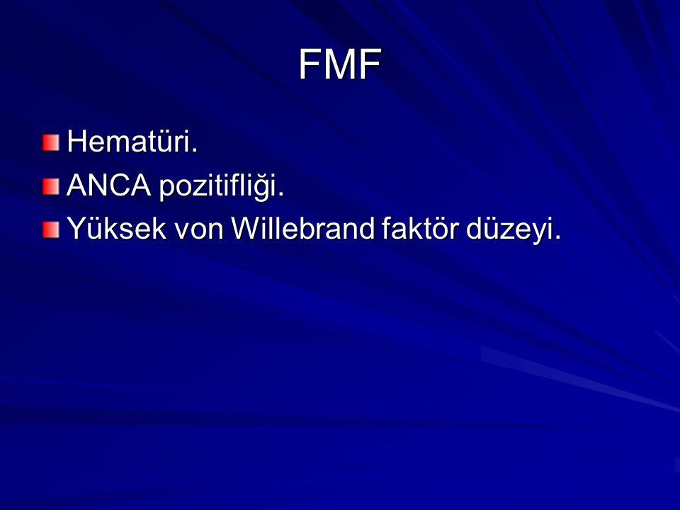 FMF Hematüri. ANCA pozitifliği. Yüksek von Willebrand faktör düzeyi.