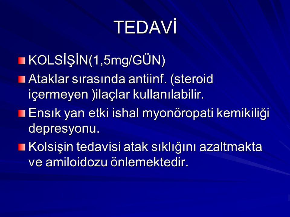 TEDAVİ KOLSİŞİN(1,5mg/GÜN) Ataklar sırasında antiinf.