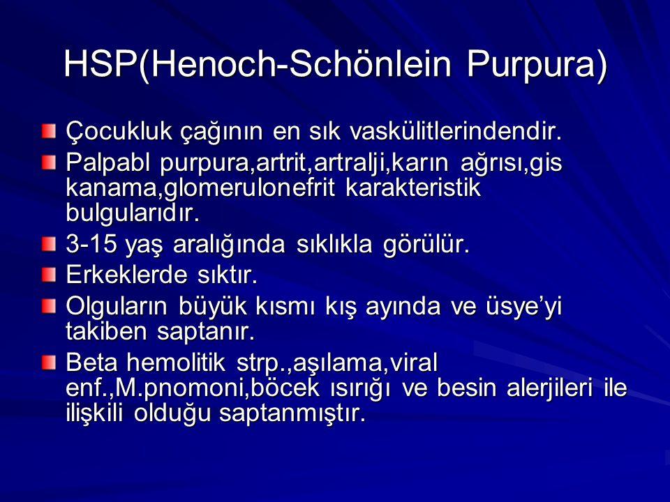 HSP(Henoch-Schönlein Purpura) Çocukluk çağının en sık vaskülitlerindendir.