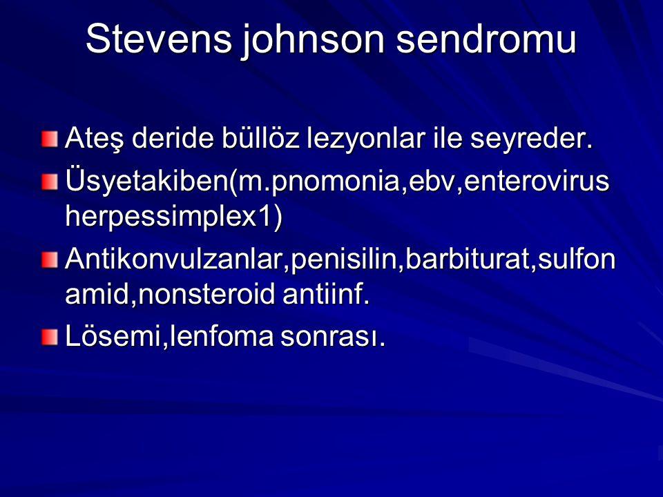 Stevens johnson sendromu Ateş deride büllöz lezyonlar ile seyreder.
