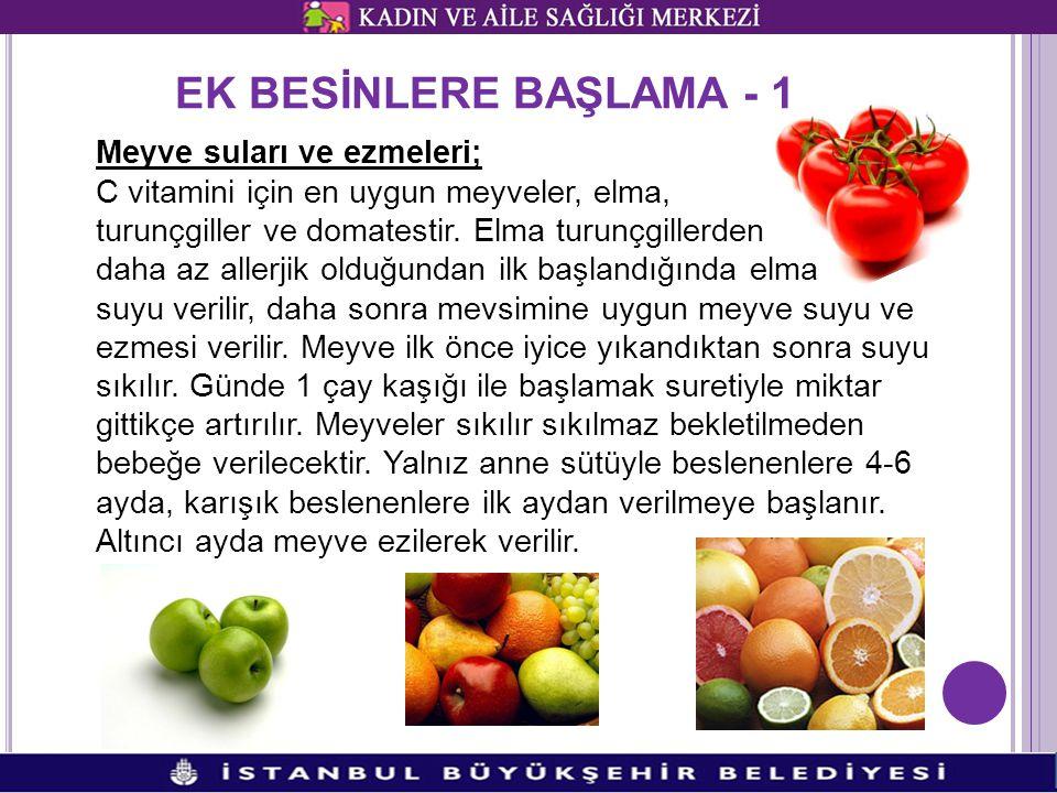 EK BESİNLERE BAŞLAMA - 1 Meyve suları ve ezmeleri; C vitamini için en uygun meyveler, elma, turunçgiller ve domatestir.