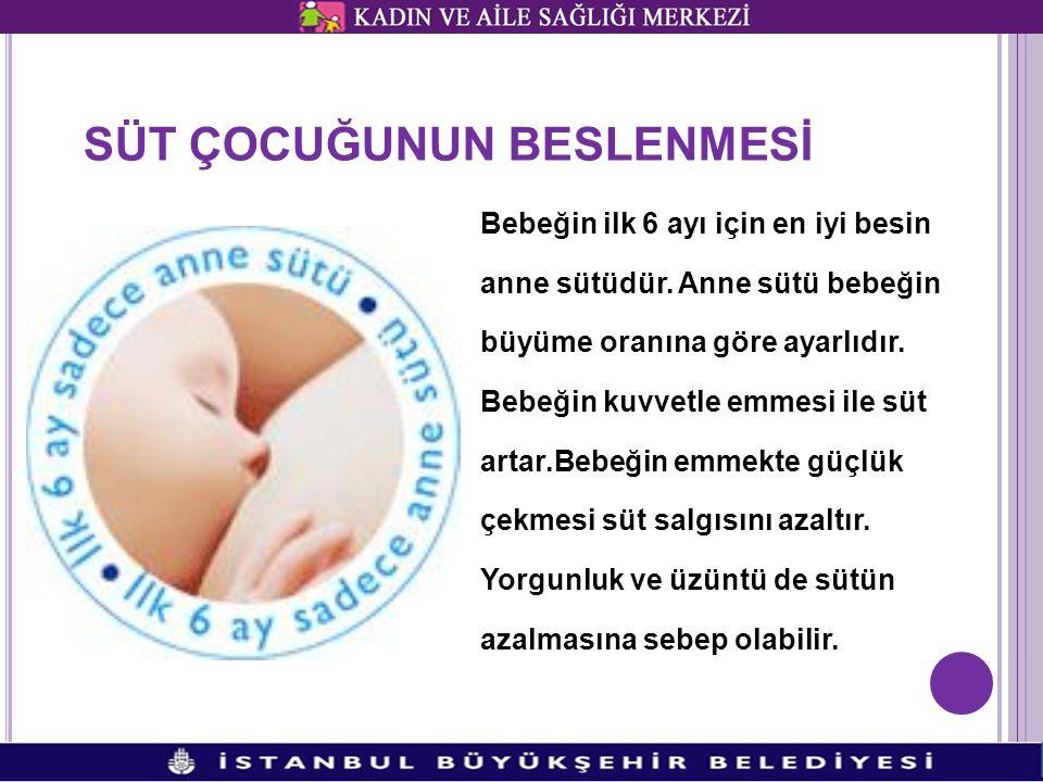 SÜT ÇOCUĞUNUN BESLENMESİ Bebeğin ilk 6 ayı için en iyi besin anne sütüdür.