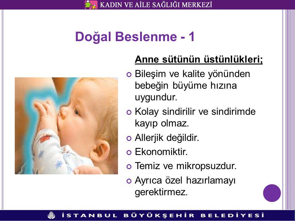 Doğal Beslenme - 1 Anne sütünün üstünlükleri; Bileşim ve kalite yönünden bebeğin büyüme hızına uygundur.