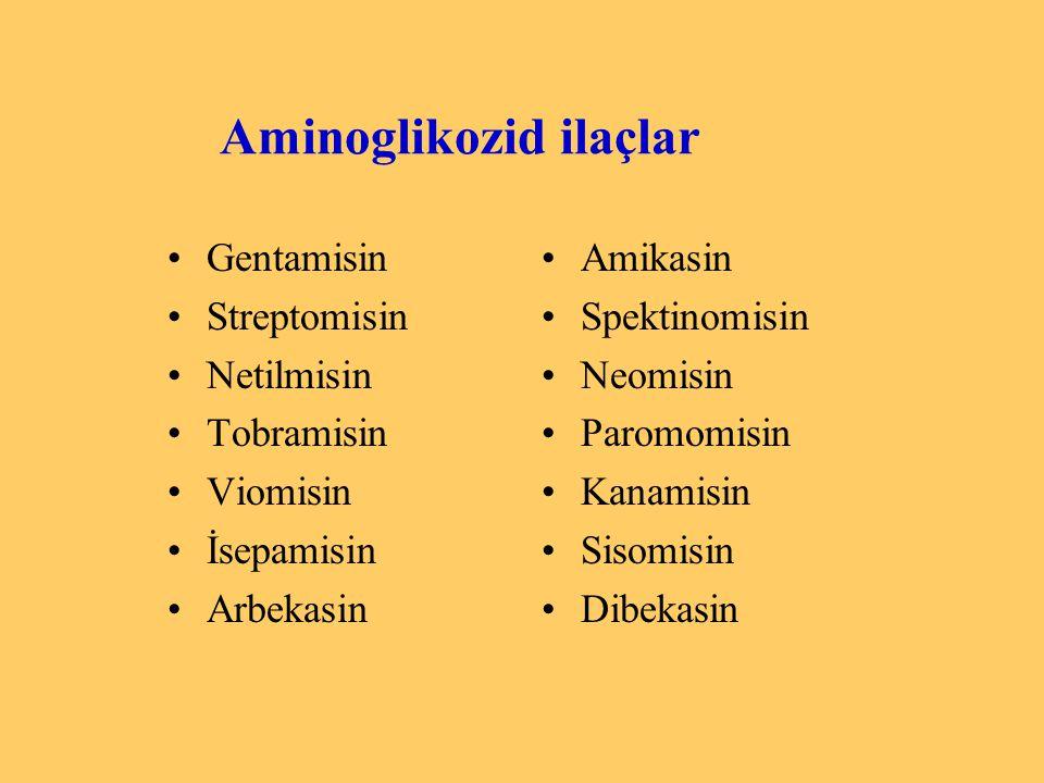 Aminoglikozid ilaçlar Gentamisin Streptomisin Netilmisin Tobramisin Viomisin İsepamisin Arbekasin Amikasin Spektinomisin Neomisin Paromomisin Kanamisi