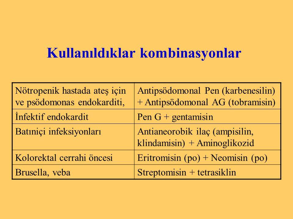 Kullanıldıklar kombinasyonlar Nötropenik hastada ateş için ve psödomonas endokarditi, Antipsödomonal Pen (karbenesilin) + Antipsödomonal AG (tobramisi