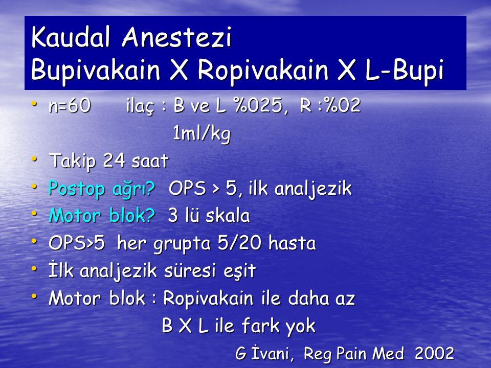Kaudal Anestezi Bupivakain X Ropivakain X L-Bupi n=60 ilaç : B ve L %025, R :%02 n=60 ilaç : B ve L %025, R :%02 1ml/kg 1ml/kg Takip 24 saat Takip 24
