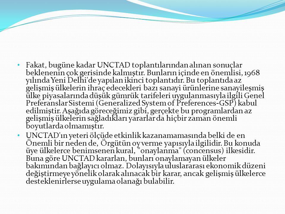 Fakat, bugüne kadar UNCTAD toplantılarından alınan sonuçlar beklenenin çok gerisinde kalmıştır.