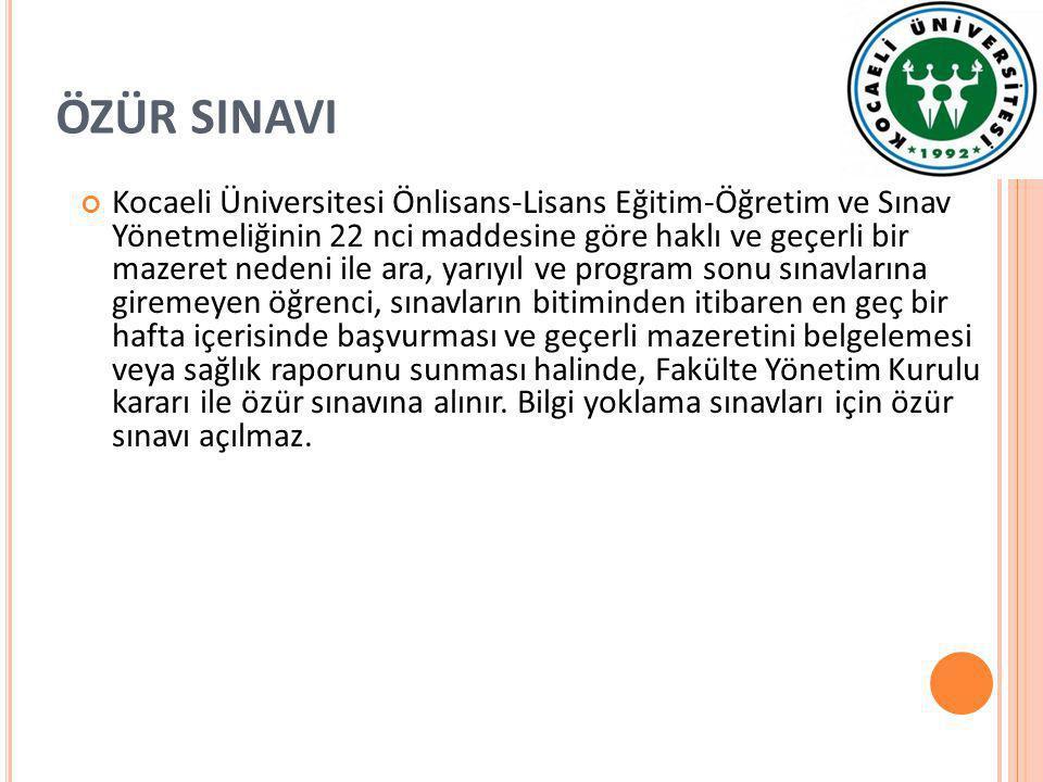 ÖZÜR SINAVI Kocaeli Üniversitesi Önlisans-Lisans Eğitim-Öğretim ve Sınav Yönetmeliğinin 22 nci maddesine göre haklı ve geçerli bir mazeret nedeni ile