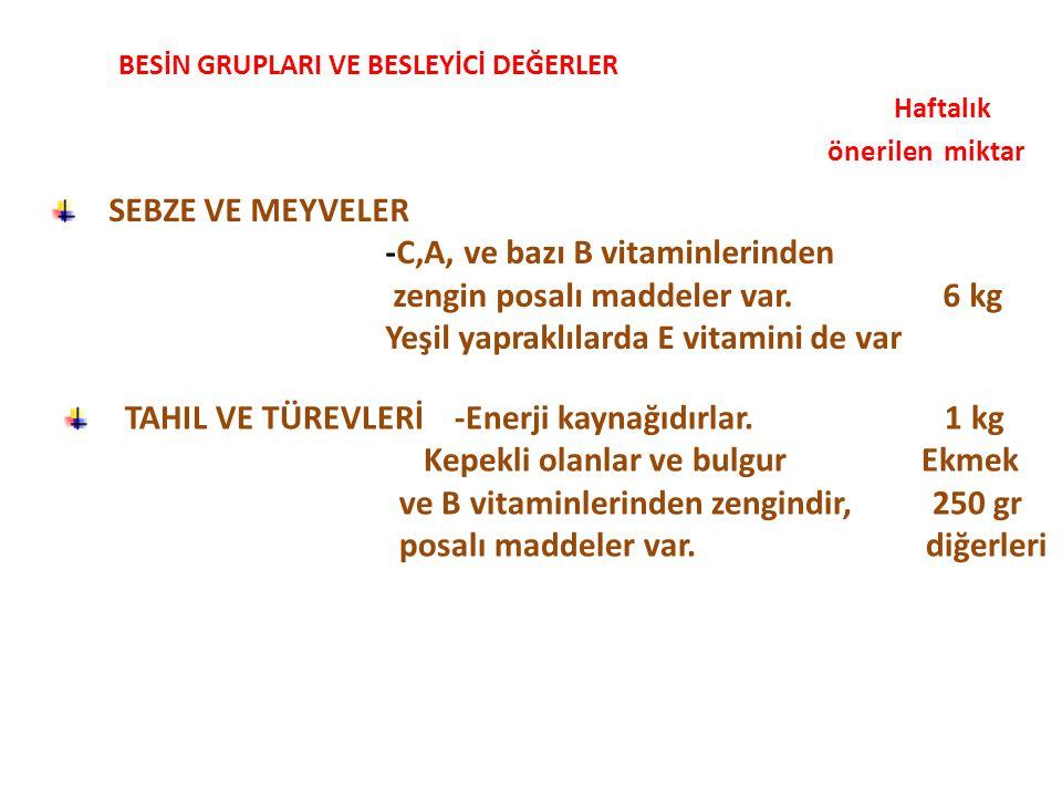Haftalık önerilen miktar SEBZE VE MEYVELER -C,A, ve bazı B vitaminlerinden zengin posalı maddeler var.