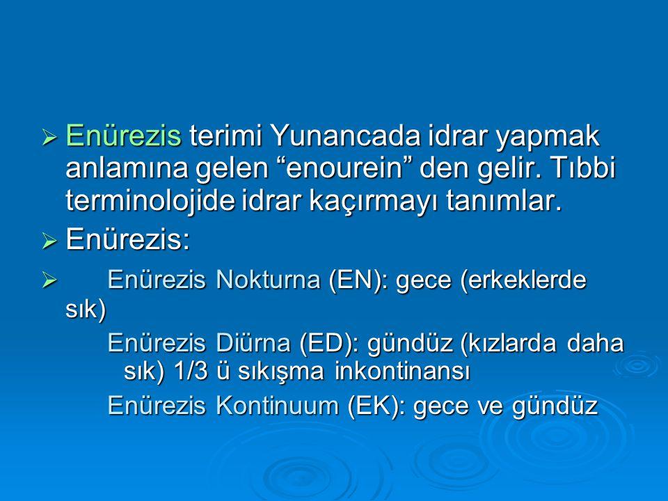  Enürezis terimi Yunancada idrar yapmak anlamına gelen enourein den gelir.