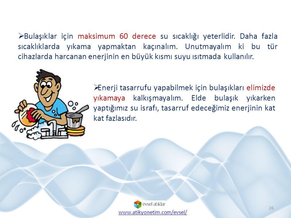  Bulaşıklar için maksimum 60 derece su sıcaklığı yeterlidir. Daha fazla sıcaklıklarda yıkama yapmaktan kaçınalım. Unutmayalım ki bu tür cihazlarda ha