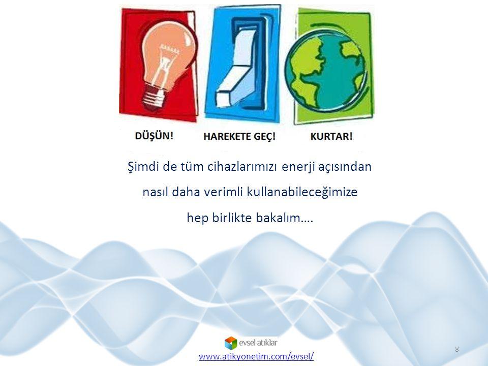 8 Şimdi de tüm cihazlarımızı enerji açısından nasıl daha verimli kullanabileceğimize hep birlikte bakalım…. www.atikyonetim.com/evsel/
