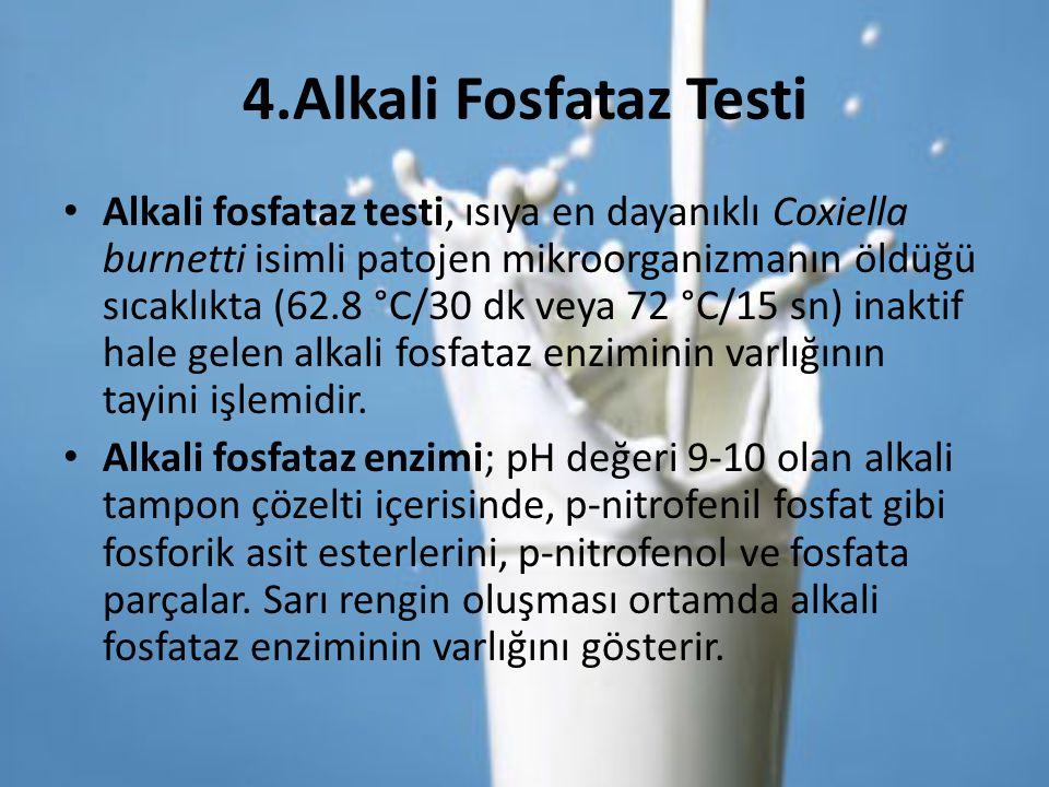 4.Alkali Fosfataz Testi Alkali fosfataz testi, ısıya en dayanıklı Coxiella burnetti isimli patojen mikroorganizmanın öldüğü sıcaklıkta (62.8 °C/30 dk