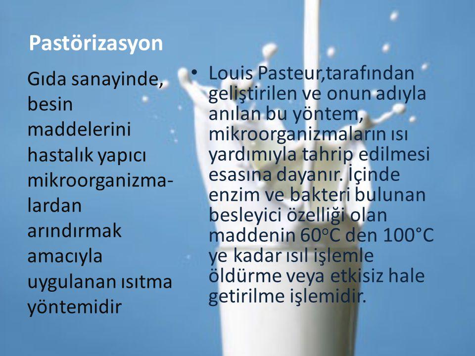 Pastörizasyon Louis Pasteur,tarafından geliştirilen ve onun adıyla anılan bu yöntem, mikroorganizmaların ısı yardımıyla tahrip edilmesi esasına dayanı