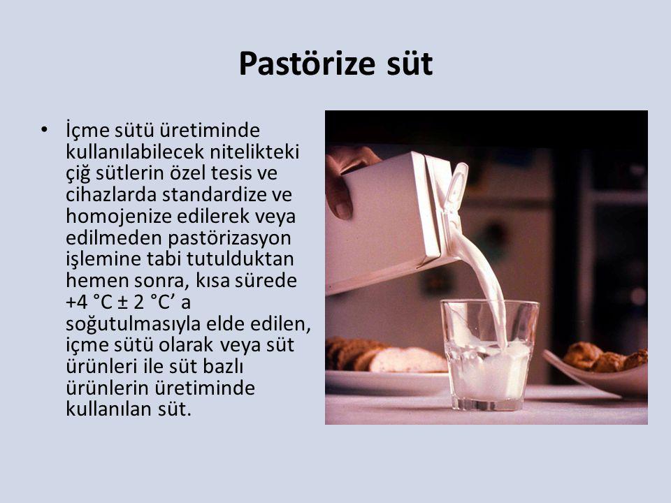 Pastörize süt İçme sütü üretiminde kullanılabilecek nitelikteki çiğ sütlerin özel tesis ve cihazlarda standardize ve homojenize edilerek veya edilmede
